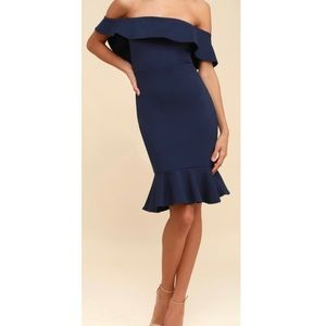 Navy blue off the shoulders body con dress